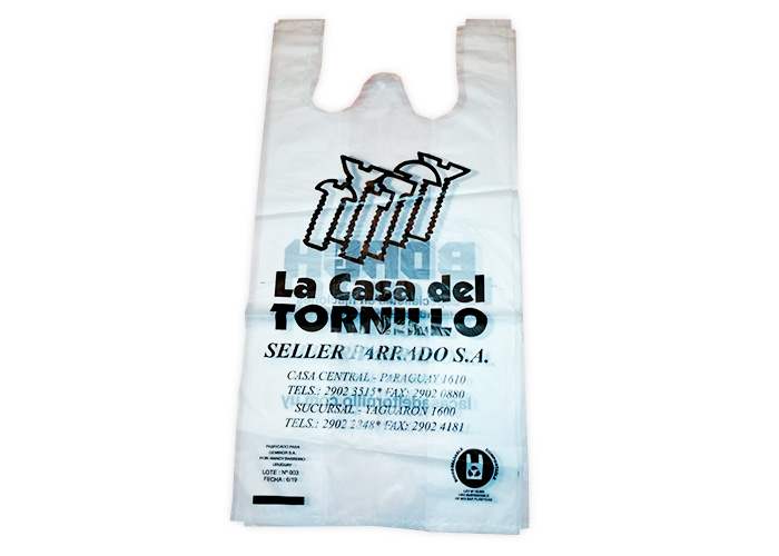 Bolsa camiseta biocompostable impresa