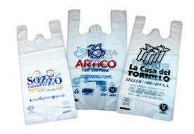 Bolsas camisetas biocompostables impresas